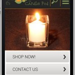 Candle Pod homepage as seen on iPhone