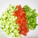 Chop vegetables and place in a bowl.