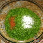 Parsley chopped finely and salt and red pepper is added. As an alternative you can add the salt and red pepper to the dressing.