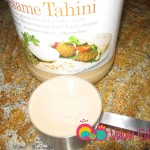 Tahini made from ground sesame seeds.