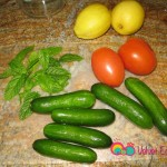 You'll need cucumbers, tomatoes and fresh mint. You can also add green bell peppers (optional).