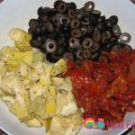 Marinated artichokes, sun dried tomatoes, olives.