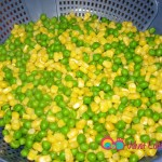 Cooked peas and corn.
