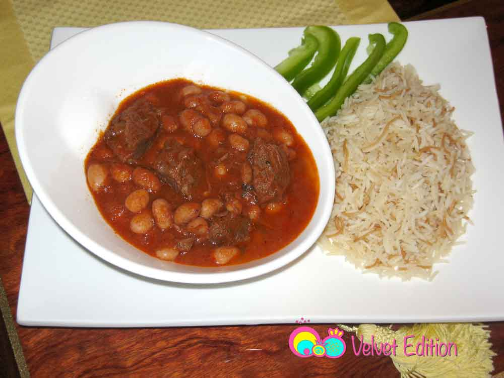 Cranberry beans with meat stew