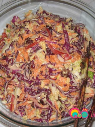 Combine the shredded vegetables and the dressing together in a large bowl.