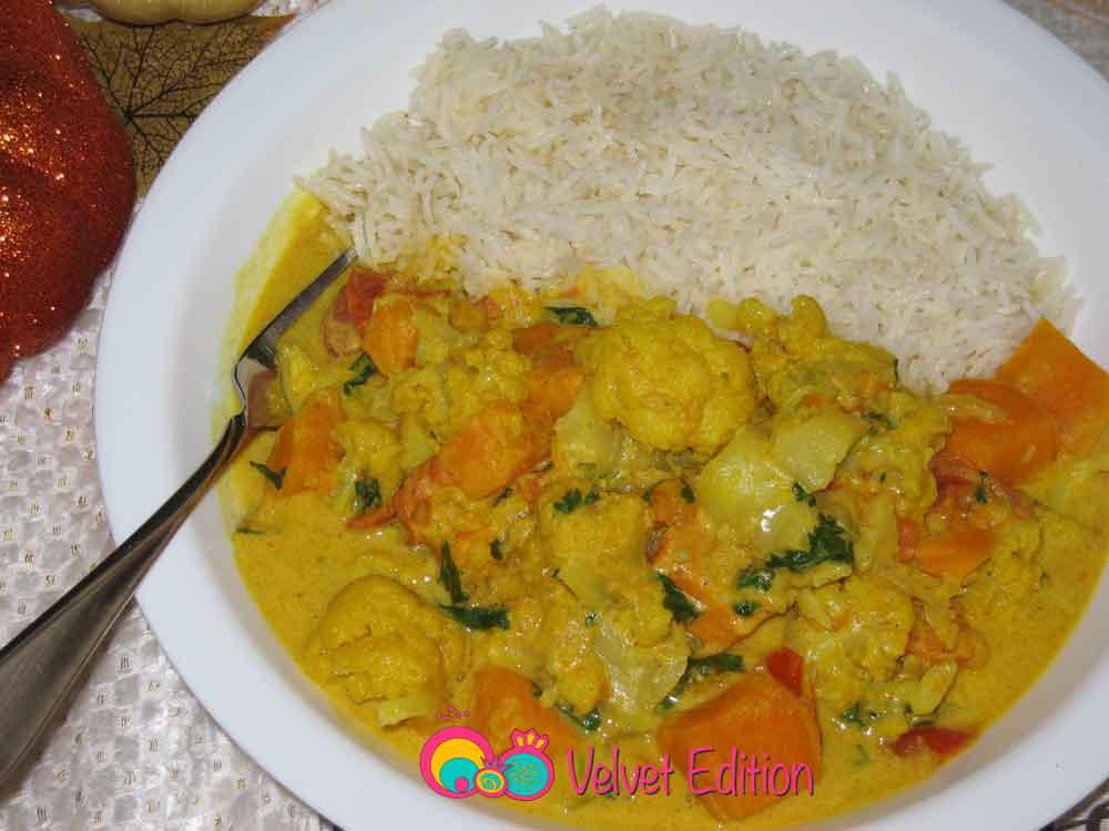 Cauliflower Sweet Potato Coconut Curry