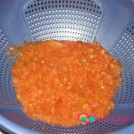 Empty the chopped tomatoes into a colander with a bowl underneath it.